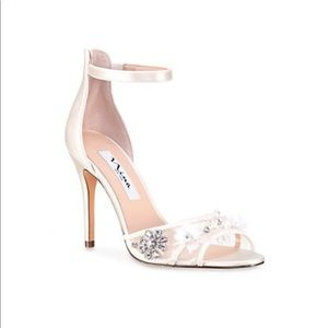 Nina ivory satin clarity flower heel shoes